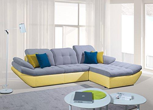 Rabatti Paris Sofa Couch mit Schlaffunktion, Luxus Designer Eckcouch kunstleder / Stoff Freie Auswahl, Inklusive Kissen, Ottomane Rechts