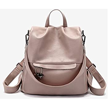 f44a93937f39 JeHouze Fashion Women Handbag Genuine Leather Backpack Casual Shoulder Bag  Anti-theft purse (Pink)