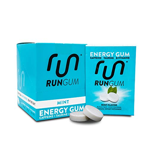 RUN GUM Mint Energy Gum 50mg Caffeine Taurine & B-Vitamins Per Piece, 24 Pieces (Pack of 12), 2 Pieces = 1 coffee or Energy drink, Sugar Free, Zero Calorie