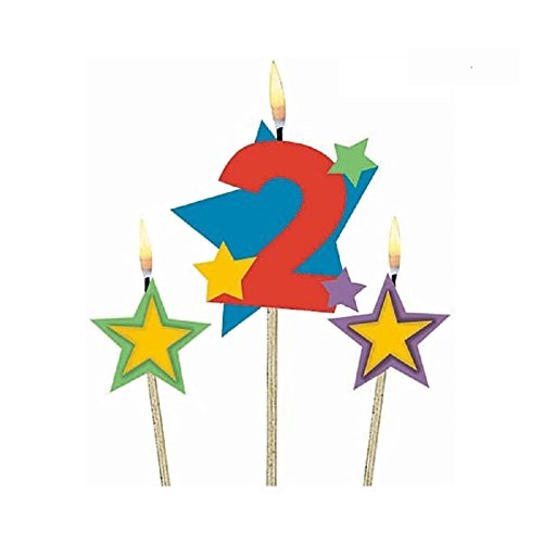 Amscan Party Time Stars and Number 2 Celebration Candle on a Stick, Pack of 3, Multi, 7 Wax