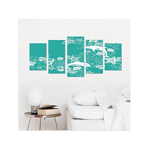 Liguo88 Custom canvas Teal Sea Animals Decor Dolphins and Flowers Sea Floral Pattern Starfish Coral Seashell Wallpaper Pattern Bedroom Living Room Wall Hanging Art Teal - Black White Glasses And Chanel