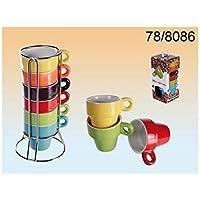 Out of the blue 78/8086in ceramica tazza di caffè espresso, circa 5x 5cm, 6colori assortiti Set su supporto cromo