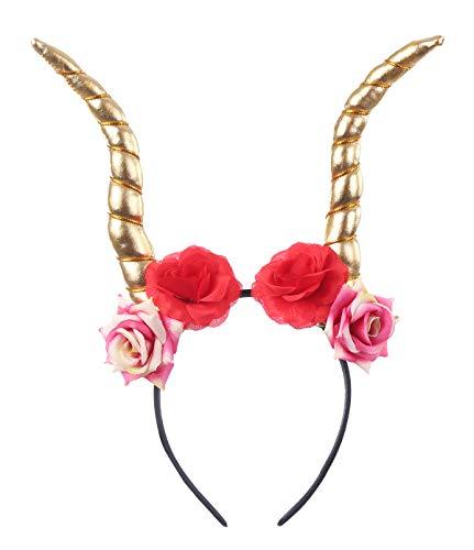 Felizhouse Devil Horn Flower Headband Party Decoration Cosplay Costume Hair Accessories (Flower Gold High)