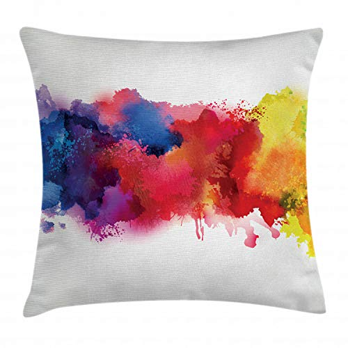 Ambesonne Abstract Throw Pillow Cushion Cover, Vibrant Stains of Watercolor Paint Splatters Brushstrokes Dripping Liquid Art, Decorative Square Accent Pillow Case, 20 X 20 Inches, Red Yellow Blue