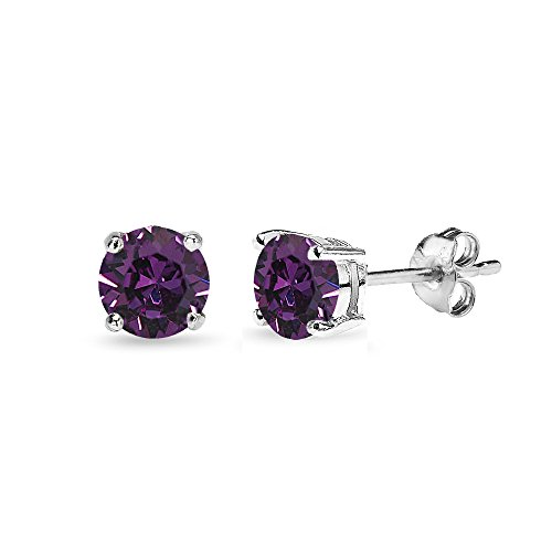 Sterling Silver 5mm Round Purple Stud Earrings created with Swarovski -