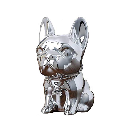 - LLMLCF Bulldog Resin Piggy Bank Cute Puppy Coin Piggy Bank Desktop Decoration Creative Ornaments,Silver