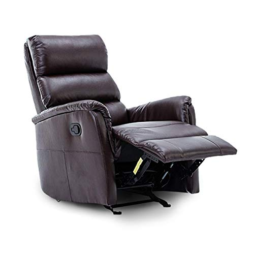 (BONZY Glider Rocking Rocker Recliner Leather Gliding Living Room Chair, Overall Size WDH (inch):3731.540, Brown)