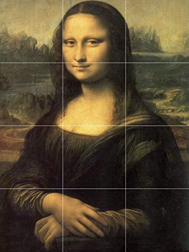 Mona Lisa Sketch - Photo Printing Glass Art Tile Made with Masterpiece or Personalized Image (Mona Lisa, Davinci, 35.4 x 47.2 Inch)