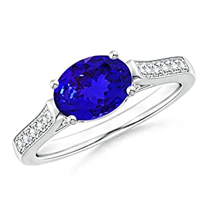 Black Friday - December Birthstone - East West Set Oval Tanzanite Solitaire Ring for Women with Diamond Accents in Platinum (8x6mm Tanzanite)