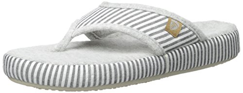 ACORN Women's Thong Summerweight Flip Flop, Grey Stripe, Medium/6.5-7.5 M - Flops Flip Acorn