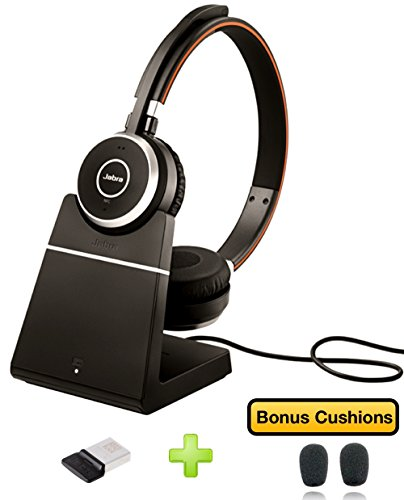 Jabra Evolve 65 Bluetooth Duo UC Wireless Headphone Bundle | Bonus Mic Cushions, USB Dongle, Charging Stand | Compatible with Softphones, Streaming Music, Smartphones, Tablets, PC/MAC 6599-823-499-B ()