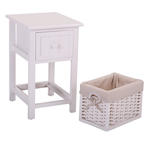 LAZYMOON White Nightstand End Side Table Bedroom Home Storage Kids Room Furniture (White Wooden Nightstand)