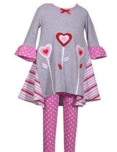 Bonnie Jean Little Girls' Occasion Dress and Legging Set, Heart Flowers, 6 (Girls Pink Denim)