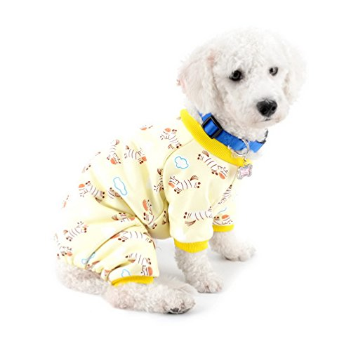 SELMAI Dog Pajamas Pet Clothes Body Suit Cats Jumpsuit Onesies Pullover Sweater Soft Sleepwear Adorable Shirt Cartoon Pattern Design Outfits for Small Puppies Cats Large Size Lightweight Yellow S ()