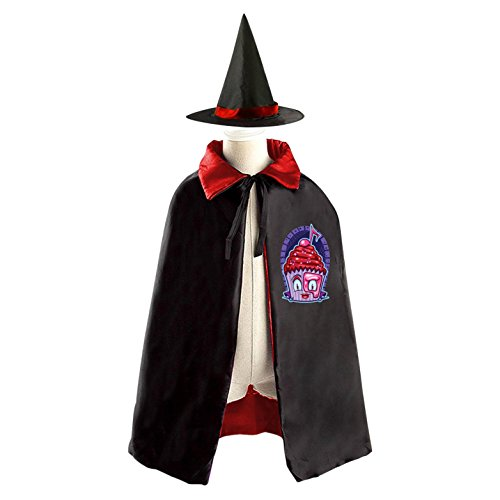 Cupcake Costumes For Kids Homemade (Cup Cake Phantom Reversible Halloween Cape and Witch Hat for Kids Red)