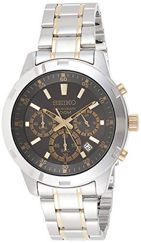 Seiko SKS609 Men's Two Tone Stainless Steel Black Dial Date Chronograph Watch