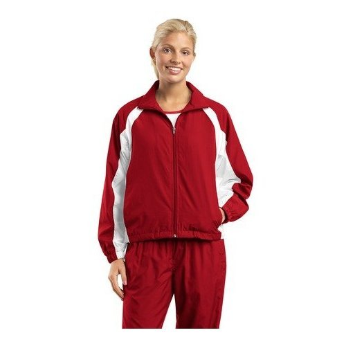 Sport-Tek Women's Athletic Full Zip Warm-Up Jacket_Red/White_Large