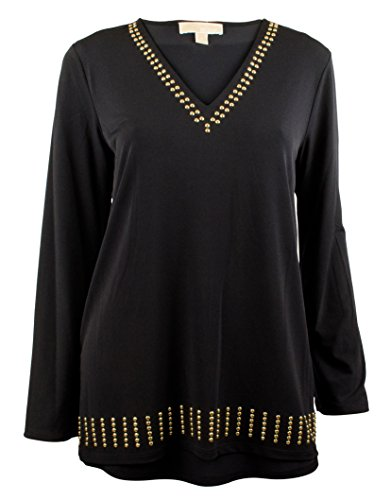 Michael Michael Kors Women's Long Sleeve Studded V-Neck Top (Medium, Black/Gold)