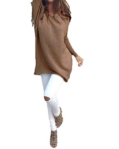 ZANZEA Mujer Jersey Holgado Con Cuello-V Casual Tejido De Punto Vestido De Manga Larga marrón