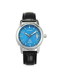 Binlun Mens Blue Tone Dial Face with 0.75'' Width Black Alligator-Croc leather Bracelet