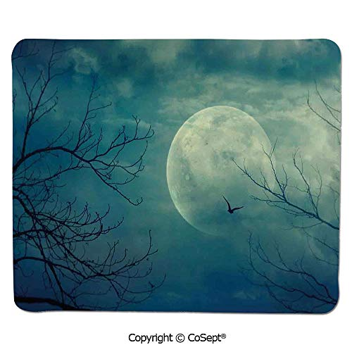 Mouse Pad,Halloween with Full Moon in Sky and Dead Tree Branches Evil Haunted Forest,Dual Use Mouse pad for Office/Home (7.87