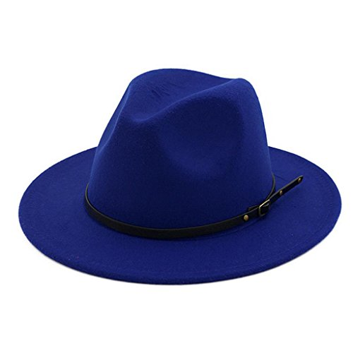Lisianthus Women Belt Buckle Fedora Hat Royal-Blue -