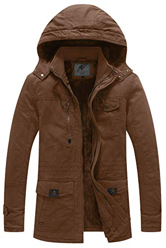 WenVen Men's Winter Thicken Cotton Parka Jacket with Removable Hood Coffee M ()