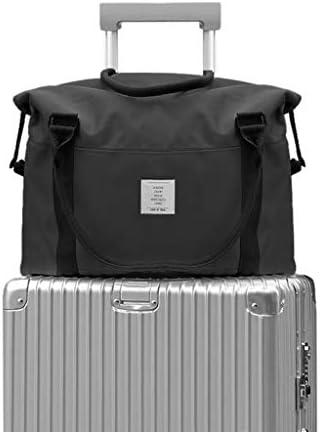 ポータブル大容量キャンバストラベル服バッグ多機能ユニセックスゴルフバッグ耐摩耗ハンドルデザイン5色 HMMSP (Color : Black)