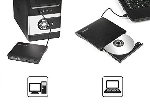 External CD Drive,Amicool USB 3.0 Portable CD/DVD +/-RW Drive Slim DVD/CD Rom Rewriter Burner Super High Speed Data Transfer for Laptop Desktop Linux OS Apple Mac Macbook Pro and PC Windows XP/Vista by Amicool (Image #5)