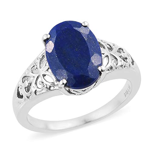 Shop LC Delivering Joy Stainless Steel Oval Lapis Lazuli Engagement Ring for Women Jewelry Gift Size 8 Cttw 4.6 (Crystal Clock Simon)
