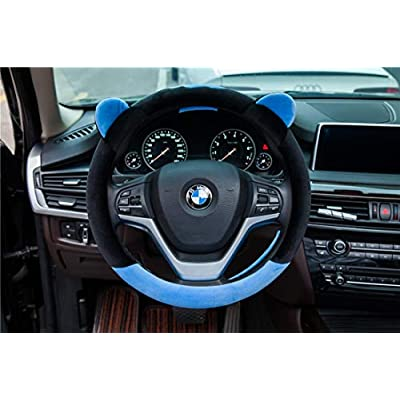 ChuLian Cute Winter Warm Plush Auto Car Steering Wheel Cover for Women Girls, Universal 15 Inch Car Accessories, Blue: Automotive