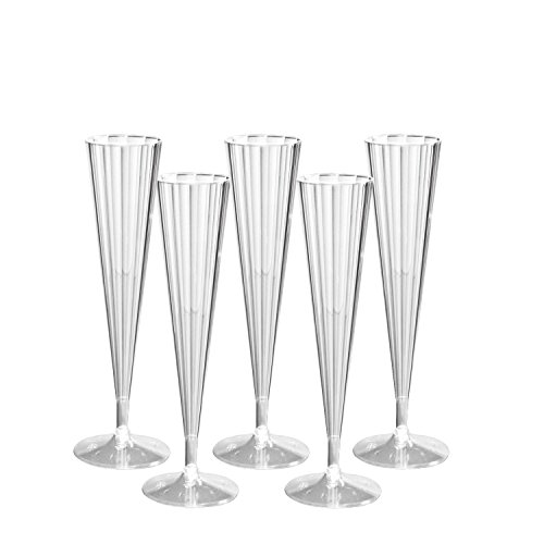 Party Essentials N130790 50Count Deluxe/Elegance Twopiece Hard Plastic 5 oz Champagne Flutes, - Glasses Wedding Cheap