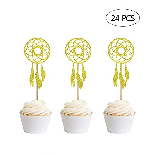- 24 Pcs Gold Glitter Dream Catcher Cupcake Toppers for Kids' Party Picks Wedding Birthday Party Cake Decoration
