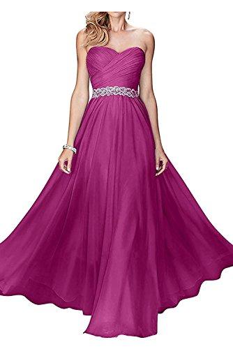 Damen Brautmutterkleider Weiss Pink Chiffon Dunkel Festlichkleider mia Abendkleider Braut Herzausschnitt Langes La mit 0Ewftqn