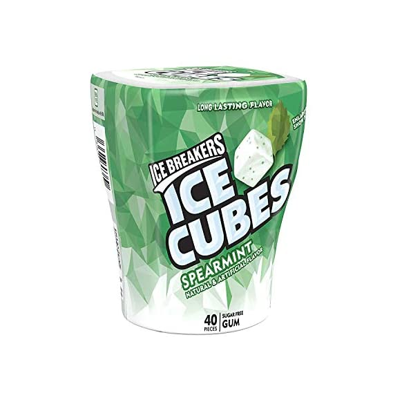 Ice Breakers Spearmint Flavour Imported (Ice Cubes Sugar Free Gum with Xylitol),120g