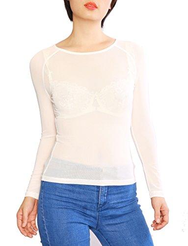 Mesh White Long Sleeve Top (May&Maya Women's Long Sleeve Pure Mesh Blouse(White XXL))