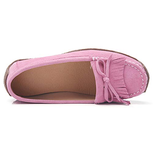 Platform Z Comfort Low SUO Driving Moccasins Pink Loafers Suede Tassel Bow Shoes Top Women Errqg