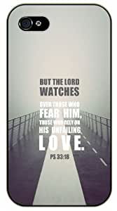 But the Lord watches over those who fear him - Psalm 33:18 - Foggy bridge love - Bible verse IPHONE 5C black plastic case / Christian Verses