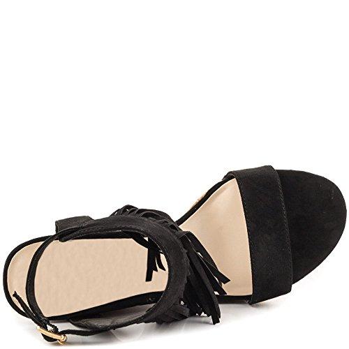 MERUMOTE - sandalias con cuña Mujer negro