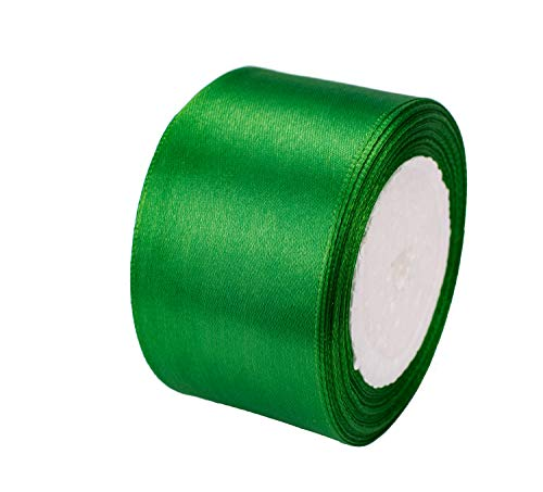 ATRibbons 25 Yards 2 inches Wide Satin Ribbon Perfect for Wedding,Handmade Bows and Gift Wrapping (Green)