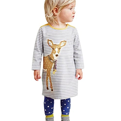 Print Long Sleeved Dress (Toddler Baby Kids Girls Cartoon Embroidery Print Long-Sleeved Dress Outfits Clothes Casual Dress (Gray, 4T))
