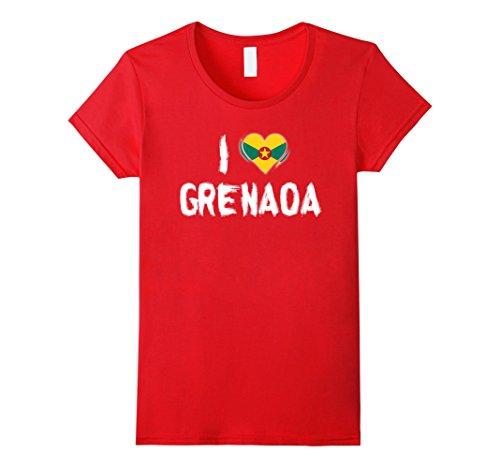 Womens I love Grenada T-Shirt XL Red (Grenadians On Halloween)