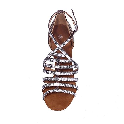 L@YC Women Dance Shoes Latin / Ballroom Satin Fine Waist With Heel Height Of 7.5 Cm Red OZRuixG