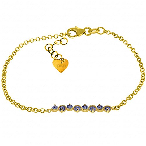 Galaxy Gold 1.55 Carat 14K Solid Gold Bracelet Natural Tanzanite 14k Yellow Gold Tanzanite Bracelet