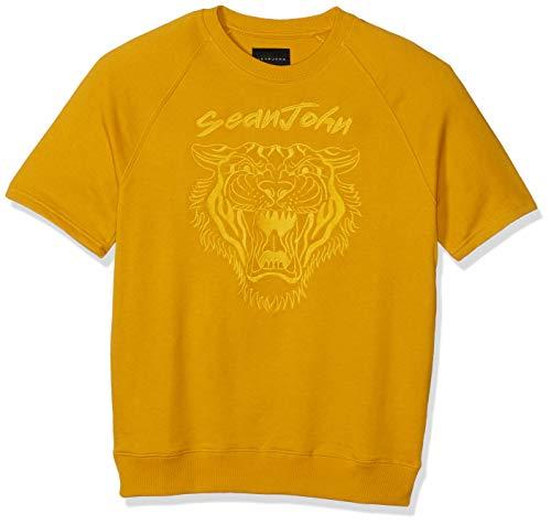 Sean John Men's Tiger Emboidery Short Sleeve Sweatshirt, Fools Gold, M