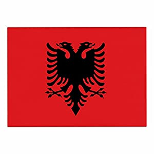 "60%OFF KESS InHouse BS1079ADM02 Bruce Stanfield ""Flag Of Albania"" Black Red Digital Dog Place Mat, 24"" x 15"""