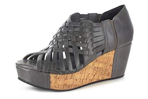 (Chocolat Blu Web Wedge - Woven Platform Sandal - Women's Leather Shoes Graphite Leather 6)