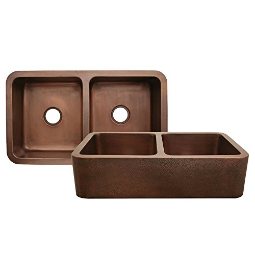 Whitehaus Copperhaus Farmhouse Kitchen Sink WH3621COFCD-HAMMERED COPPER Hammered Copper
