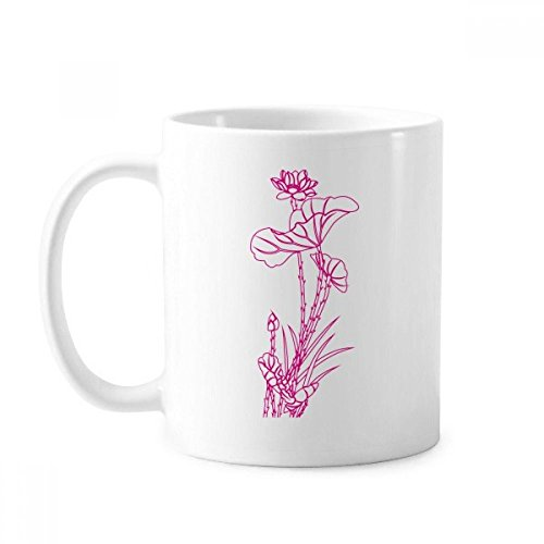 Lotus Leaf Lotus Flower Reed Flower Plant Classic Mug White Pottery Ceramic Cup With Handle 350ml Gift