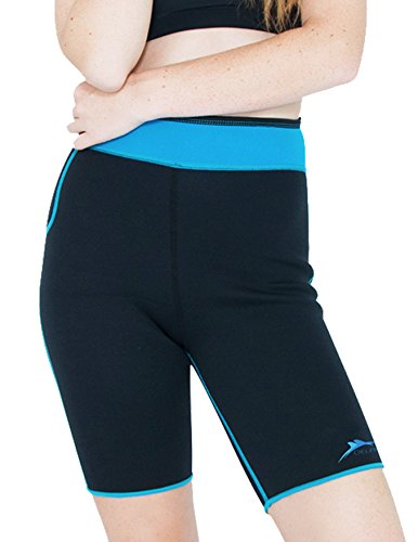 Delfin Spa Women's Heat Maximizing Neoprene Exercise and Anti-Cellulite Shorts, TURQUOISE, Large